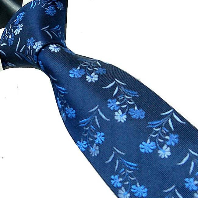 Marc-Philippe Handmade Silk Tie Navy Royal Blue with Turquoise Blue Flower Pattern Silk Tie