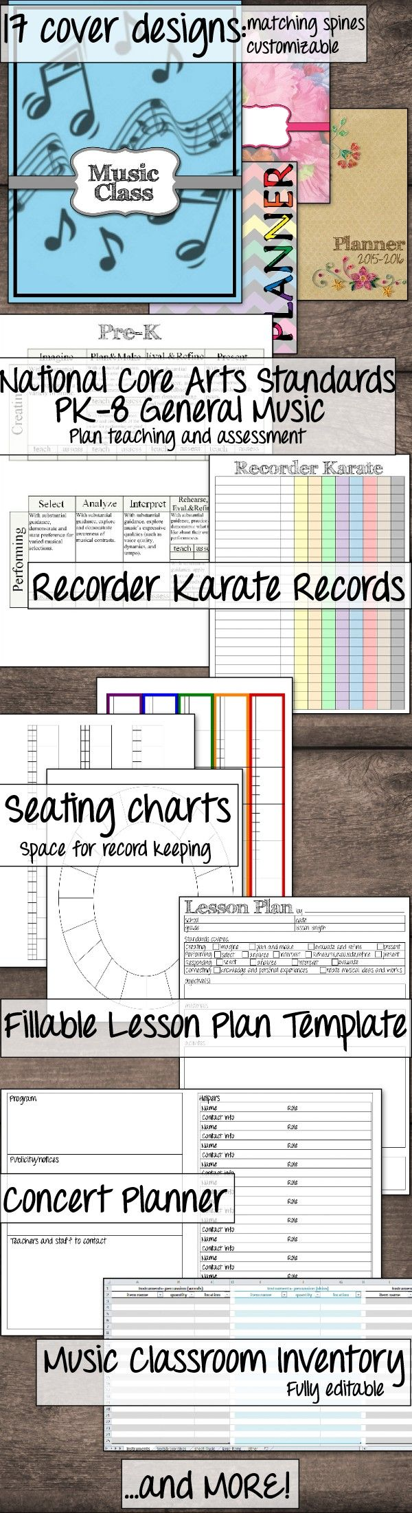 Everything you need to get organized in your general music class! PDF and powerpoint formats. Includes 34 cover designs (titled and blank), matching spine labels,35 seating charts, Recorder Karate records, concert planner, national music standards planning sheets, IEP at a glance, and music classroom inventory.