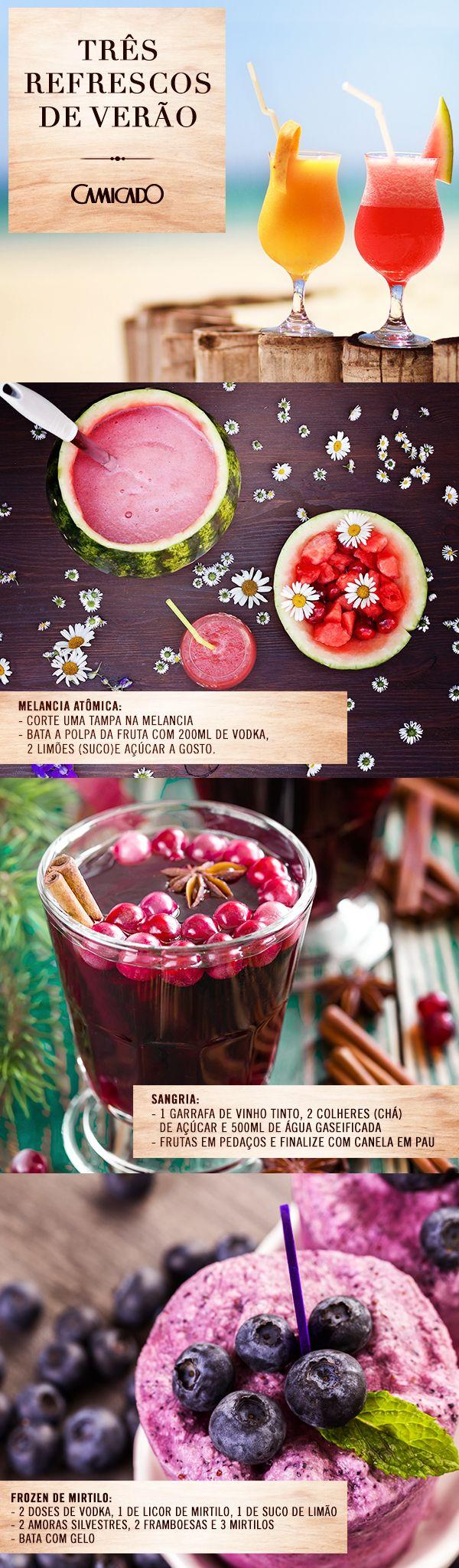 Prepare drinks deliciosos de verão com as receitas da Camicado: melancia atômica, sangria ou frozen de mirtilo. Não se esqueça de finalizar com taças e copos lindos.