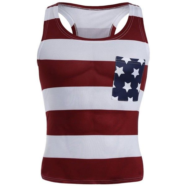 American Flag Patriotic Muscle Tank Top ($12) ❤ liked on Polyvore featuring men's fashion, men's clothing, men's shirts, men's tank tops, mens american flag tank top and mens american flag shirt