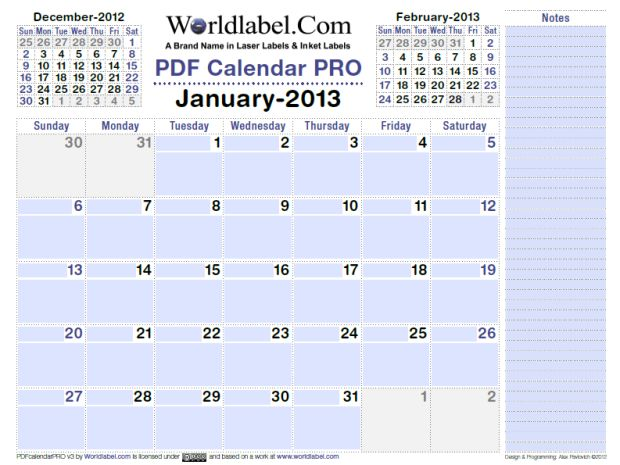 Generic Year Calendar : Free download calendar fillable and editable pdf pro