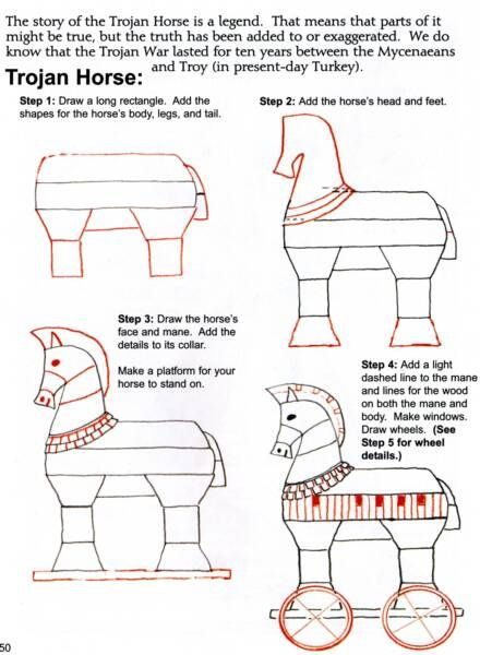 Ancient Greece: free art lesson to draw a trojan horse by Draw and Write through History