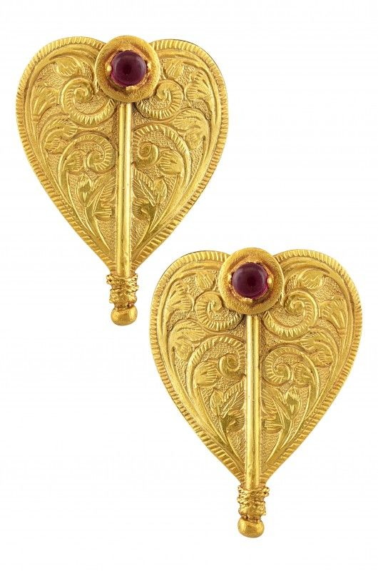 Silver Gold Plated Textured Pink Pan Leaf Earrings  #Indian #Jewellery