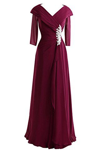Bess Bridal Womens V Neck 34 Long Sleeves Formal Mother of the Bride Dresses US4 Burgundy *** Find out more about the great product at the image link.