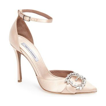 tie the knot crystal buckle pump by Tabitha Simmons. A buckle set with Swarovski crystals sparkles at the vamp of a pointy-toe pump designed with a delicate ankle strap and slender stiletto heel. Style Name: Tabitha Simmons Tie The Knot Crystal Buckle Pump (Women). Style Number: 5445617. A... #tabithasimmons #nudeshoes #pumps #heels