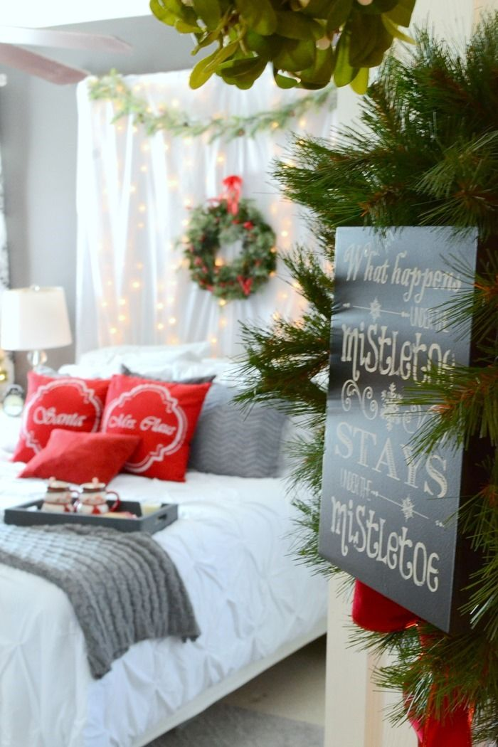 Romantic Christmas Bedroom: What is probably the last room in the house that people think to decorate for Christmas?  I know for most people, it is probably their bedroom!  In fact the master bedroom sometimes seems to be the most neglected room period. @frugalhomemakr thought it would be the perfect room to focus on decorating this year.