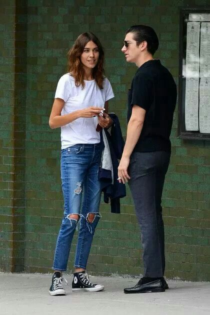 Alexa Chung, in white shirt and jeans