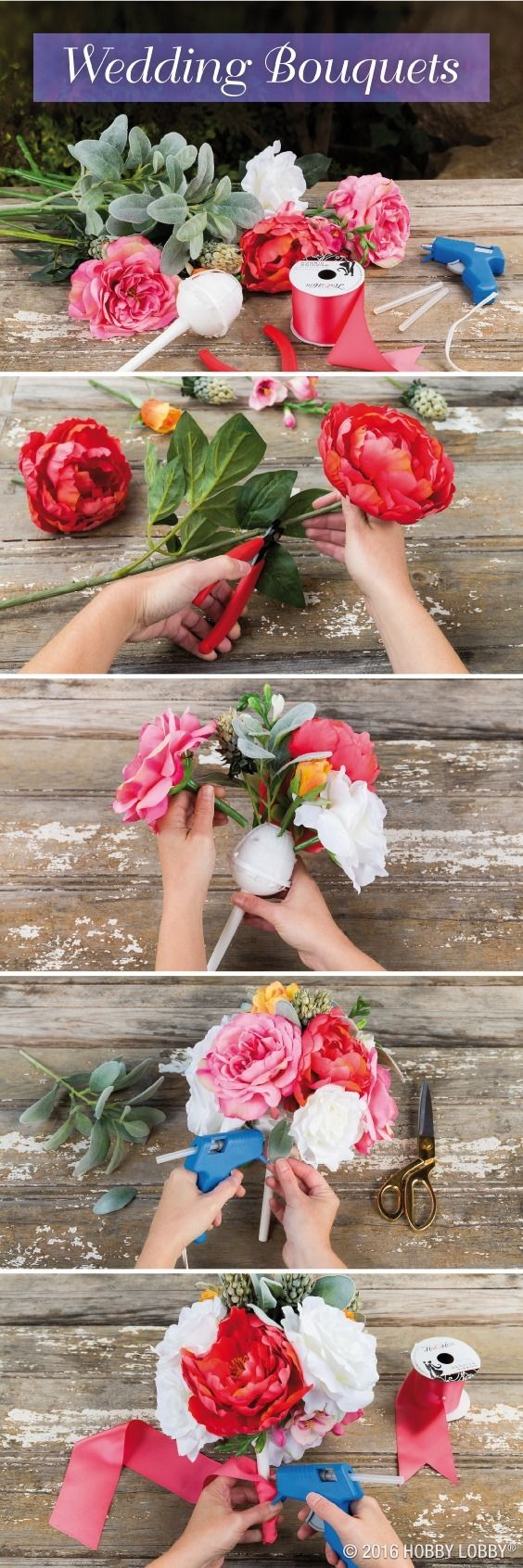 Beautiful arrangements aren't exclusive to your local florist. To create the perfect DIY bouquet: 1) Trim stems to desired length. 2) Push stems into handle's foam center, perfecting flower spacing and placement. 3) Hot glue to secure stems back in pace. 4) Use leftover leaves to hide the base. 5) Wrap ribbon around handle for a finishing touch.