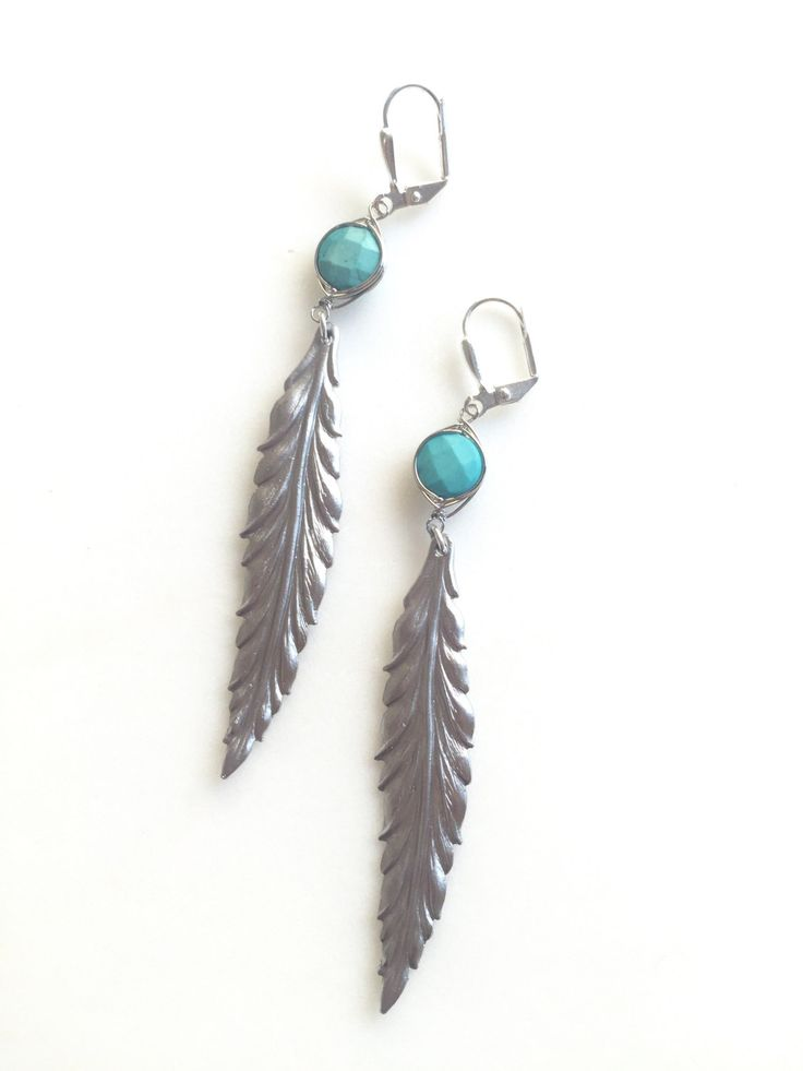 Silver Leaf Earrings with Turquoise Stones.  Long Turquoise Earrings. Feather…