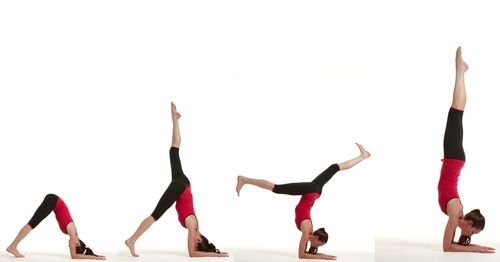 Forearm Stand: Bring mat up to wall; place hands 2' from wall. Ensure arms are PARALLEL and facing wall, not pointing inwards or outwards. Walk feet up into dolphin pose. Slowly balance on 1 leg while pulling other toward sky. Kick up. Bring legs together; try to balance, using wall if necessary. Tuck tailbone in; pull ribs inward; make sure to not put extra pressure on lower back. To come out, let legs fall back toward mat as coming into dolphin pose. Release into child's pose; rest.
