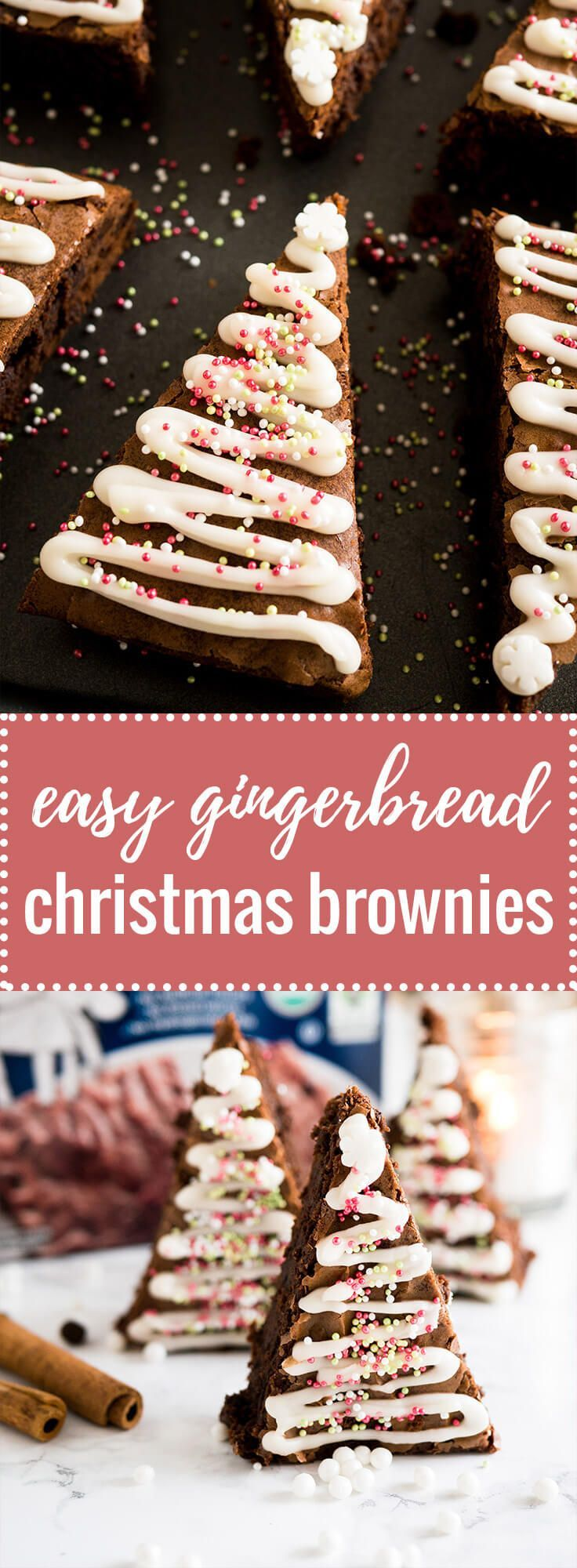 These Gingerbread Christmas Brownies take just minutes to put together! Add a seasonal spin to classic fudge brownies with an easy semi-from-scratch recipe for Christmas Tree Brownies. @immaculatebakes #immaculateholidays #immaculatebaking #ad