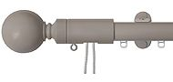 Renaissance 28mm Distinction Corded Metal Curtain Pole Light Grey, Sphere