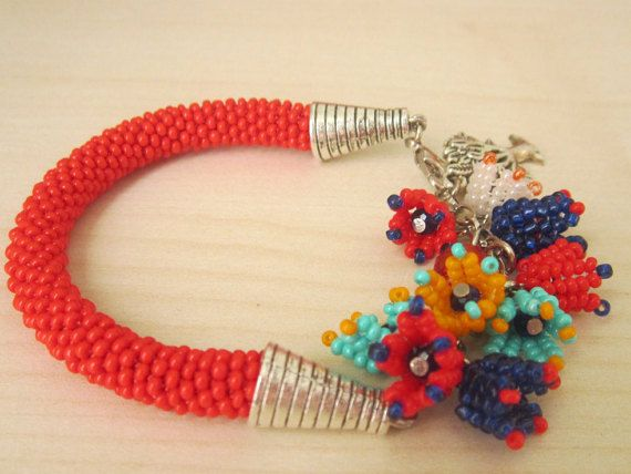 Hey, I found this really awesome Etsy listing at https://www.etsy.com/listing/252758730/red-colored-flowers-bohemian-bracelet