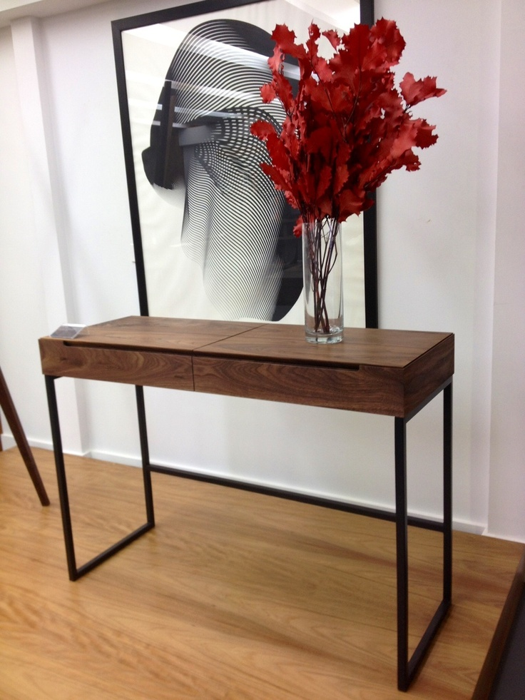 Luka Desk/Side Table - Solid walnut with steel base. This pic was taken from our showroom in Waterloo.