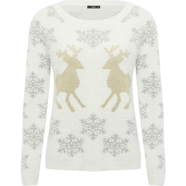 M&Co Snowflake Reindeer Jumper ($37) ❤ liked on Polyvore featuring tops, sweaters, cream, long sleeve tops, christmas jumpers, cream sweater, white jumper and cream knit sweater