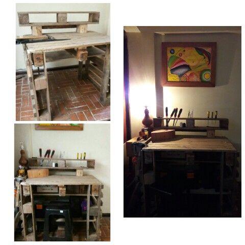 Wood proyect 2 Madera reciclada Mesa de trabajo con palets