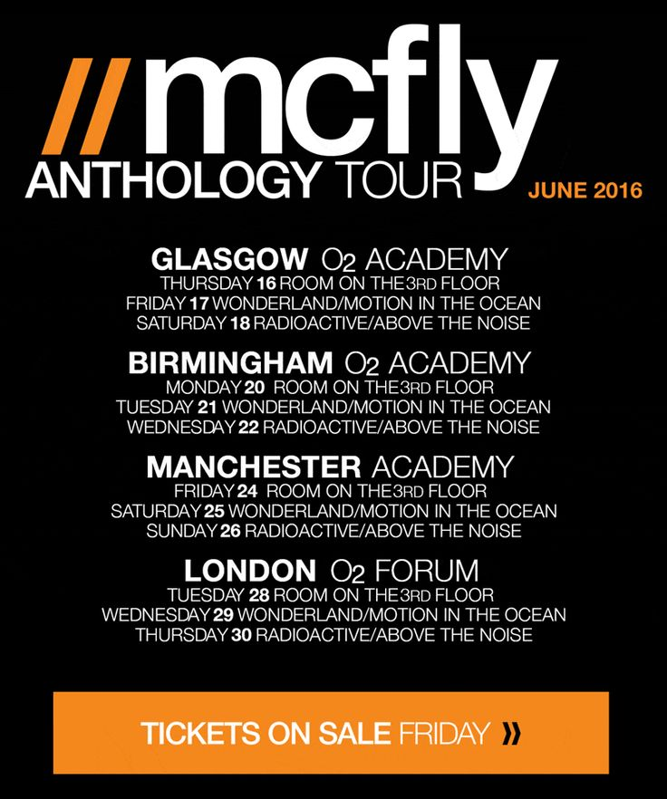McFly // Anthology Tour // June 2016 // Tickets on sale Friday