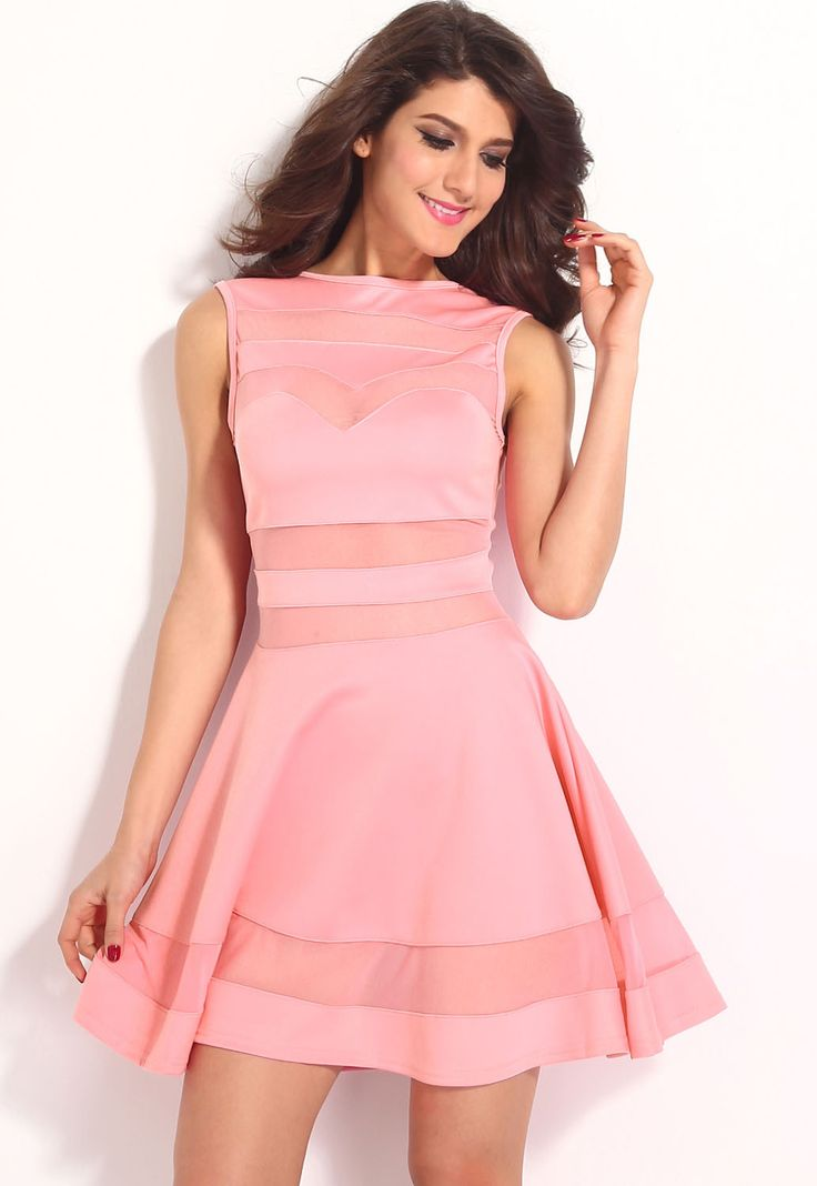 Light Pink Mesh Skater Dress LAVELIQ SALE