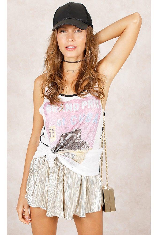 Shorts Plissado Metalizado Fashion Closet - fashioncloset