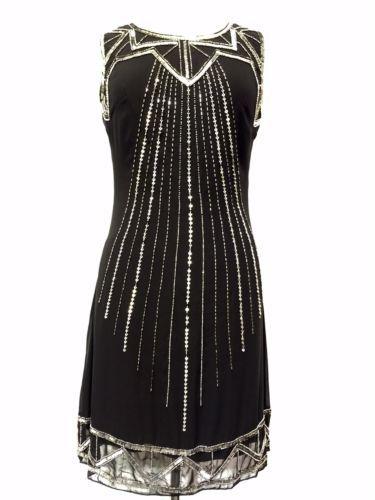 Noir-vintage-annees-20-gatsby-downton-abbey-tambour-frange-de-perles-robe-taille-8-18