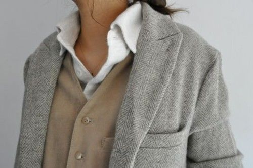 brown dress with white dots: Layered, Colors Combos, Tomboys Fashion, One Blazers, White Shirts, Tomboys Style, Grey, Neutral Palettes, My Style