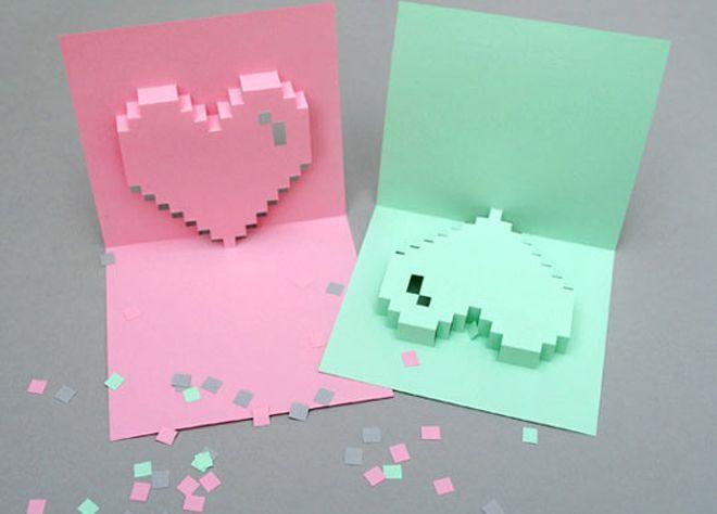 ¡Haz esta tarjeta de corazón 3D para San Valentín! Muy fácil de hacer en muy poco tiempo. Elige colores diferentes para el efecto deseado.