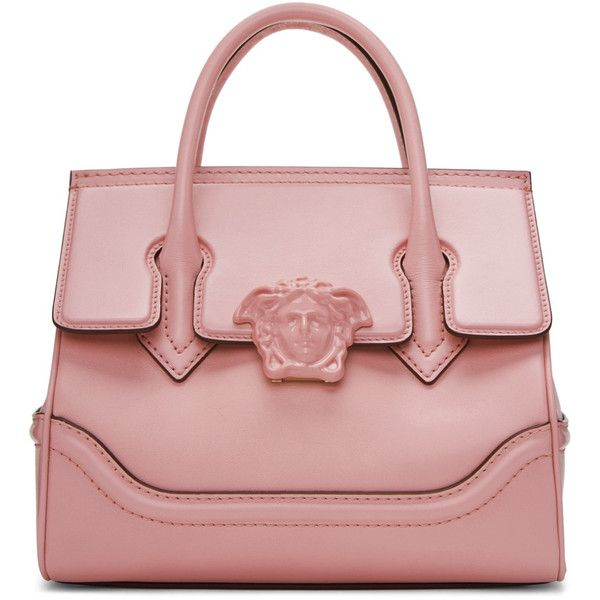Versace Pink Medium Palazzo Empire Bag ($2,320) ❤ liked on Polyvore featuring bags, handbags, pink, studded purse, red purse, duffel bag, pink duffle bag and duffle bag