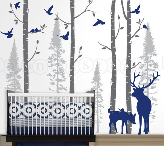 Birch and Fir Forest, Birch Trees Wall Decal, Birch Tree Wall Decal with Birds and Elk for Birch Nursery, Kids or Childrens Room 021 on Etsy, $130.00