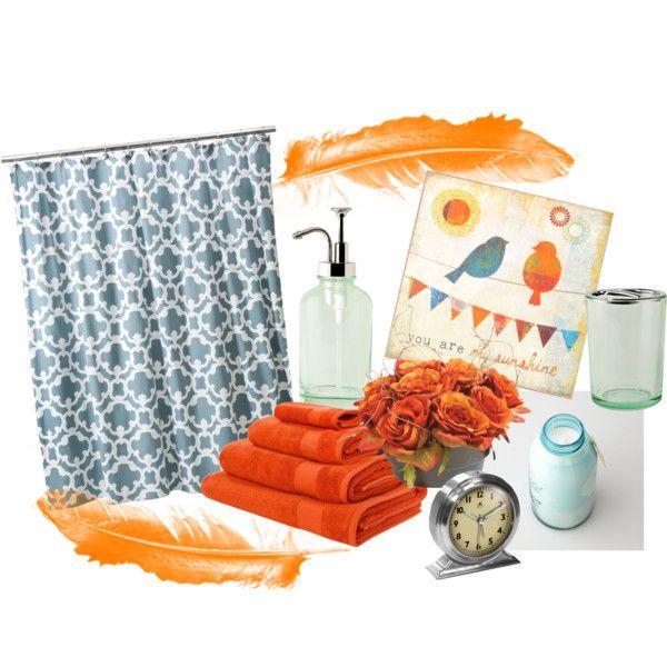 25 best ideas about orange bathrooms on pinterest for Blue and orange bathroom