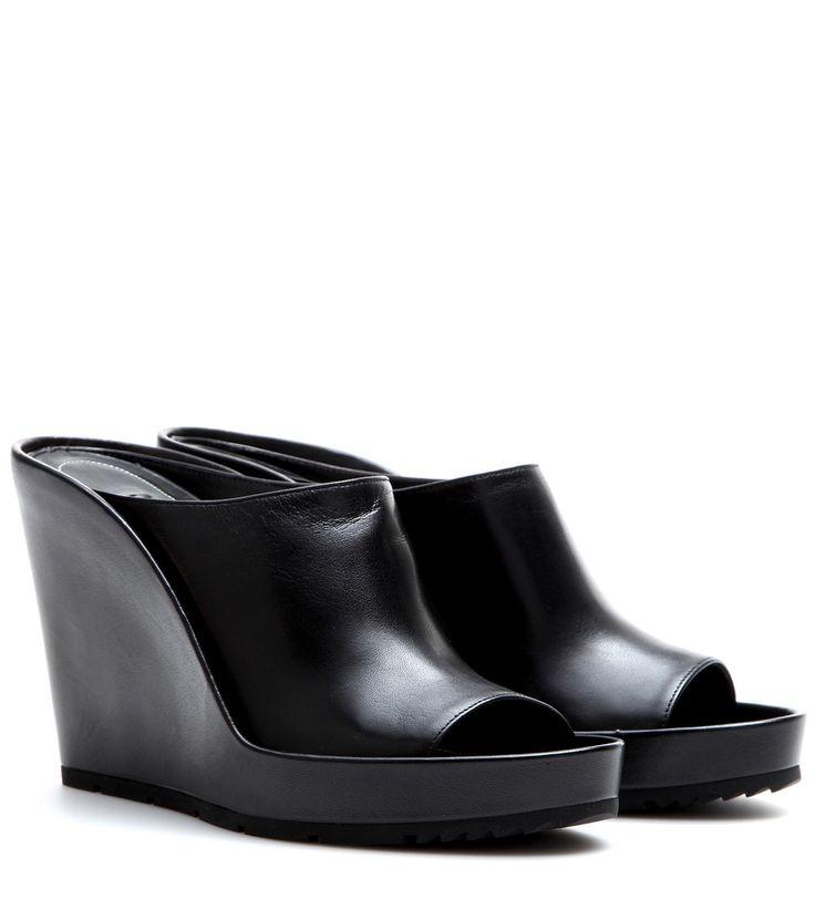 Schwarze Wedge-Mules aus Leder By Balenciaga