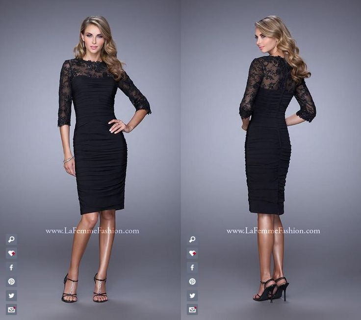 La Femme 21644 | Short Dress ~ Above the Knee ~ Lace Sleeves ~ Embellished  Sequins