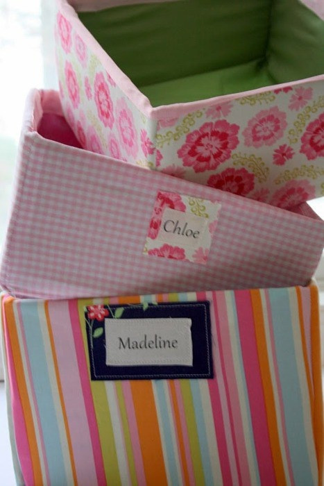Covering Cardboard Boxes with Fabric....