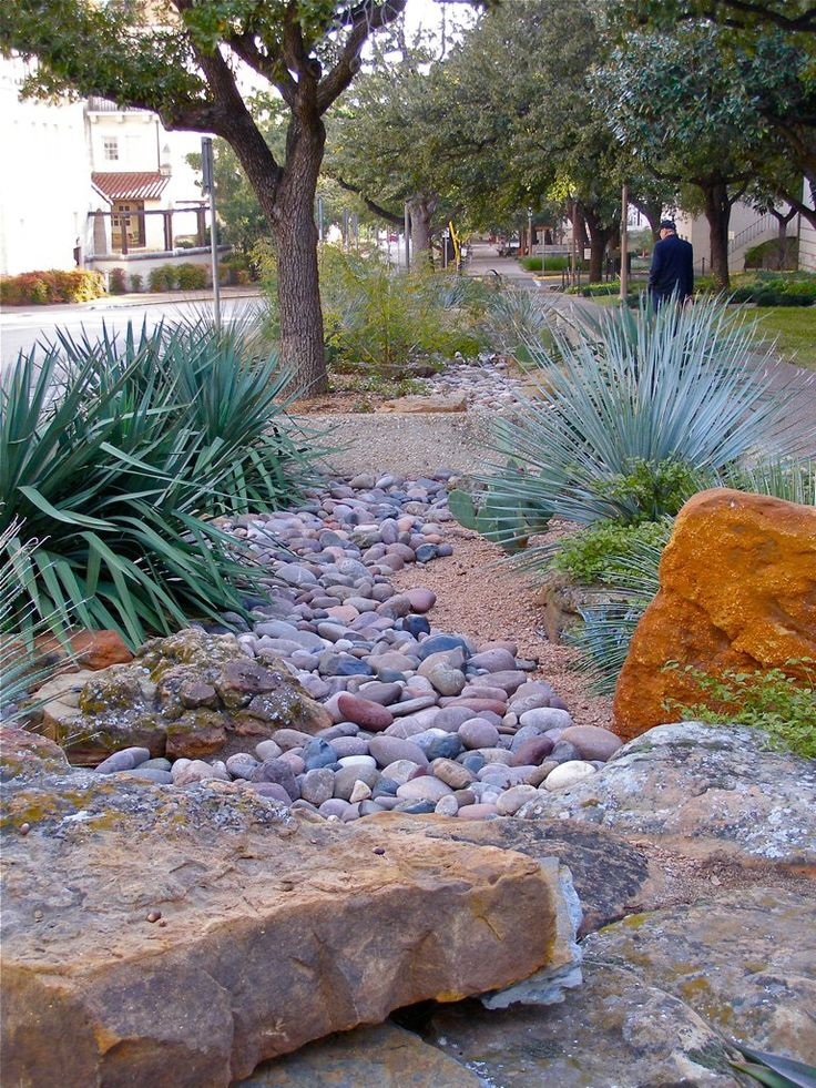 111 best images about dry creeks on pinterest gardens for Landscaping rocks austin