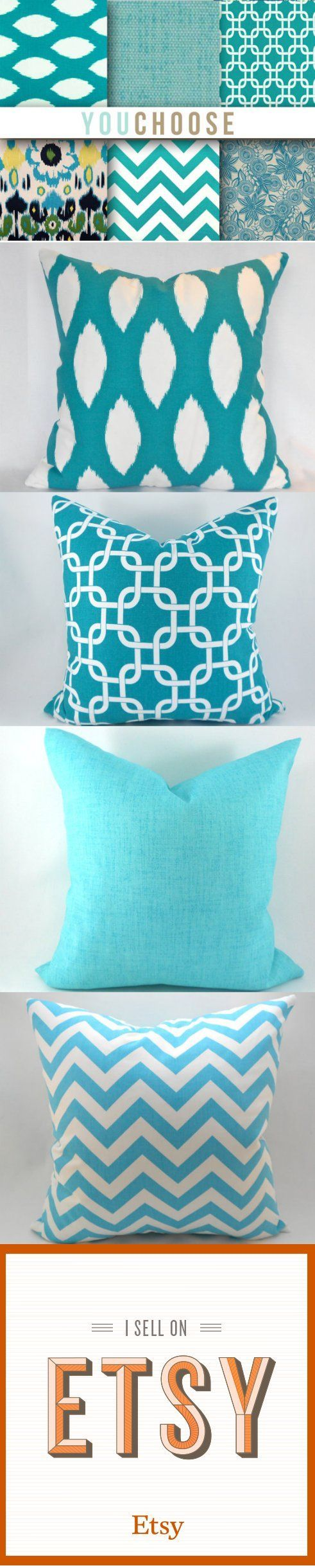Turquoise Pillow Covers ANY SIZE Decorative Pillow Cover Turquoise Blue Pillows You Choose | $15 +