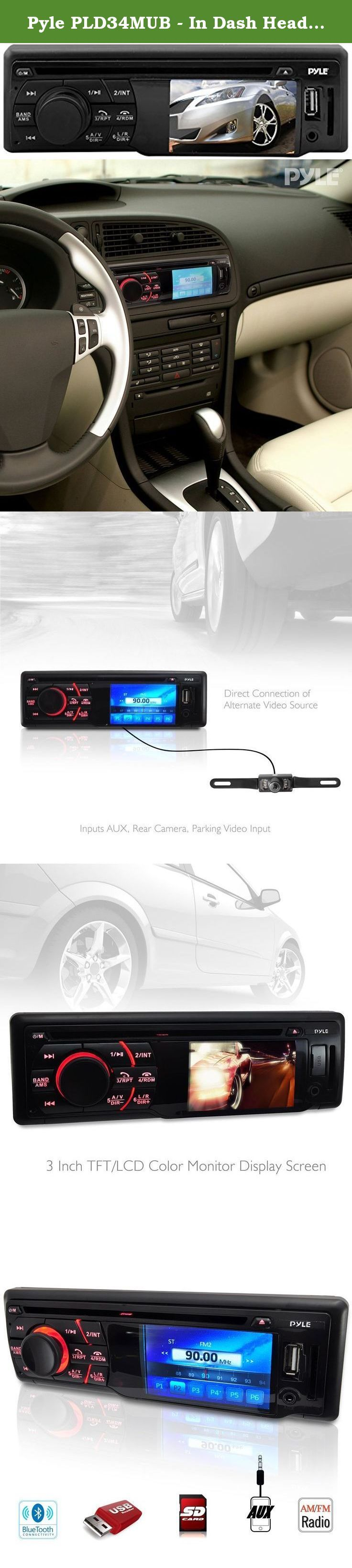 Pyle PLD34MUB - In Dash Head Unit Digital Receiver - Equipped with CD/DVD Player, Video Display, Built in Hands Free Bluetooth, Aux Input, USB for MP3 Files and AM/FM Tuner - Fits all Single Din Size Vehicles. The Pyle Bluetooth Digital Video Head unit Receiver is the ultimate in-car media accessory. It has everything you want in a modern head unit: Bluetooth wireless music streaming, hands-free call answering ability, AM/FM tuning with 30 station presets, CD/DVD player, USB flash drive…