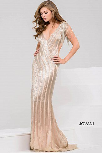 Jovani Gold Beaded dress with fringe sleeves glamour stand out pageant wear evening gown Ypsilon Dresses Pageant Red Carpet Special Occasion Formal Formalwear