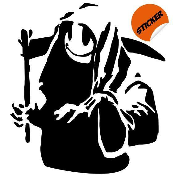 Banksy Happy Face Death Sticker – Smiley Emoji Smile Wall Vinyl Decal – Funny Laughing Art Mask Emot