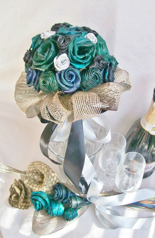 Mixed blue, turquoise and natural handmade and dyed flax flower wedding bouquet