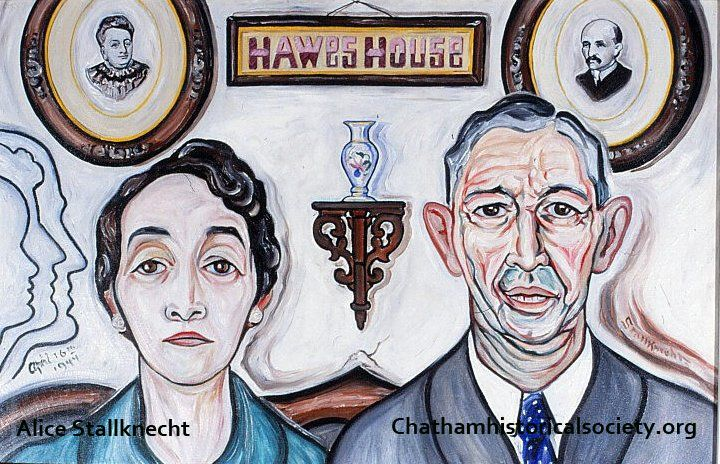 "From Alice Stallknecht's mural ""Every Man to His Trade."" A color photograph of a portrait of Eva Hawes and Issaac Hawes, owners of the Hawes House boarding house on Old Main Street –Photo by William Hayes. #alicestallknecht, #chatham, #capecod, #chathamhistoricalsociety, #muralbarn, #mural, #portrait"
