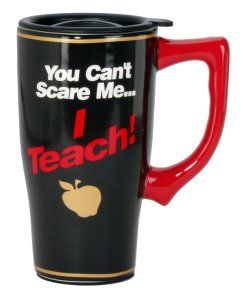 Spoontiques You Can't Scare Me Travel Mug, Black This cute teachers mug, is skid plated on the bottom. It has a double insulated wall, that keeps your beverages hot. It is for both hot and cold beverages. Perfect for all teachers. http://theceramicchefknives.com/ceramic-mug-lid/ 12-Ounce, 12-Ounce Eco Travel Mug, Black, Blue, Cafe Mocha Vodka Insulated Travel Mug, Ceramic Mug With Lid,