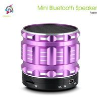 Mini Portable Bluetooth Speakers Purple Metal Steel Wireless Smart Hands Free Speaker With FM Radio Support SD Card For iPhone