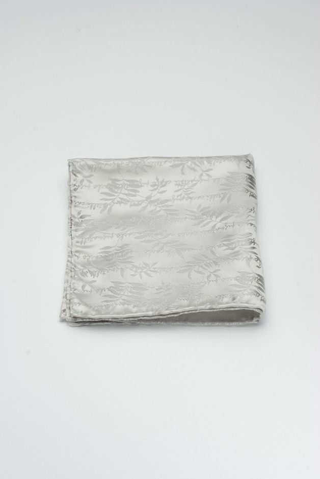 Srebrna poszetka w delikatny wzór / Silver pocket square / DaWanda