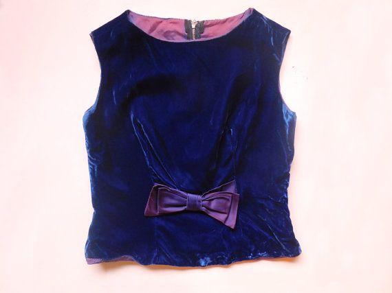 vintage 1960s blue velvet crop top with purple by starseedvintage