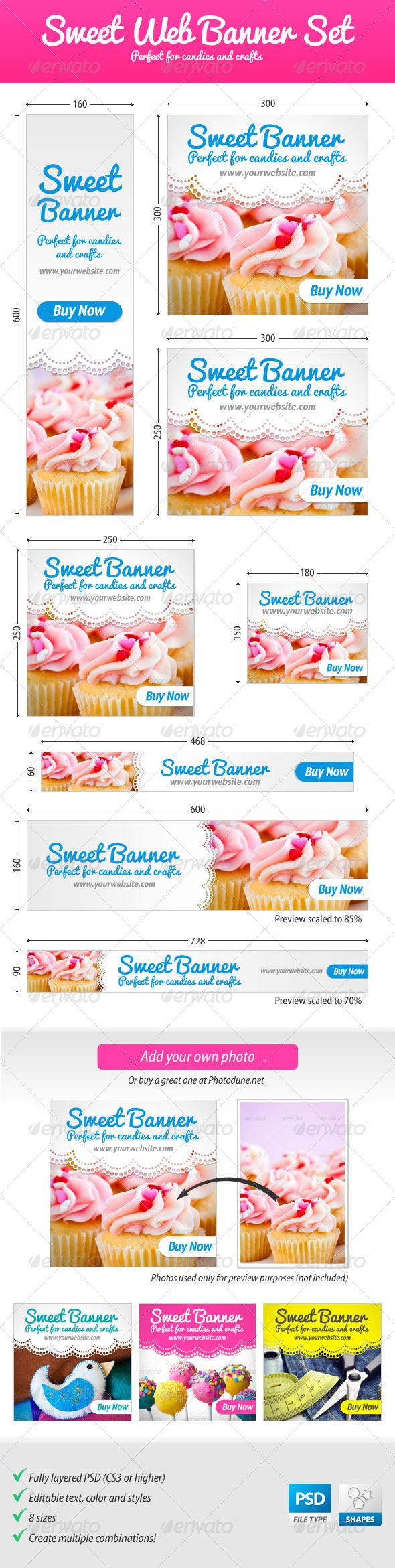 Sweet Web Banner Set – Perfect for candies and crafts / @Envato GraphicRiver | Google Adwords Banners, Static Banners, banner pack, banner set, banners adwords, marketing, advertising, web banners