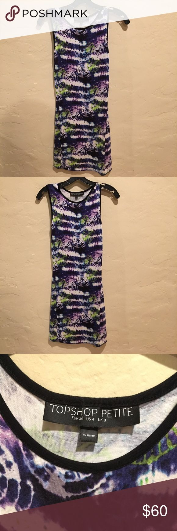 Blue, Purple, Green Topshop Petite Bodycon Dress This is a really cute body hugging dress from topshop! Really love it and am only selling bc i have so many dresses. It's sold as a 4 but I'm a 2 and it fits perfectly! Topshop Dresses Mini