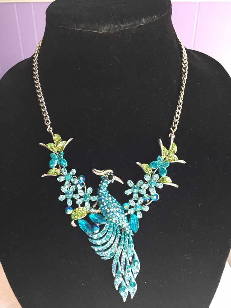 AQUA COLOR  PEACOCK NECKLACE AND EARRING SET IN SILVER TONE  #Unbranded
