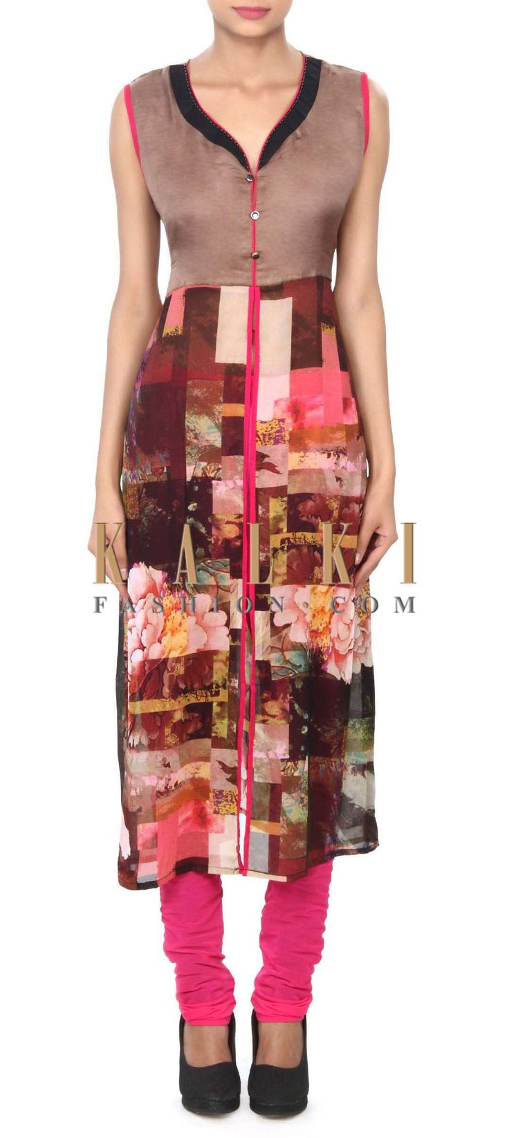 Buy Online from the link below. We ship worldwide (Free Shipping over US$100) Price- $39 Click Anywhere to Tag http://www.kalkifashion.com/brown-kurti-enhanced-in-abstract-print-only-on-kalki.html