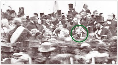 This is the only known photograph of President Abraham Lincoln (center, looking down) giving his Gettysburg Address on Nov. 19, 1863.