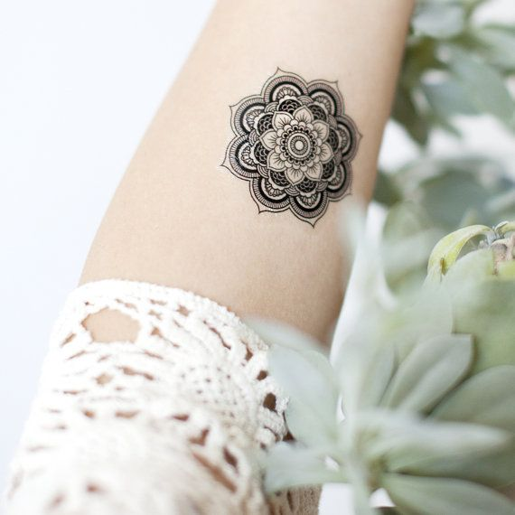 Boho Tattoo Mandala Pattern Tattoo Temporary Tattoo wrist ankle body sticker fake tattoo set of 2