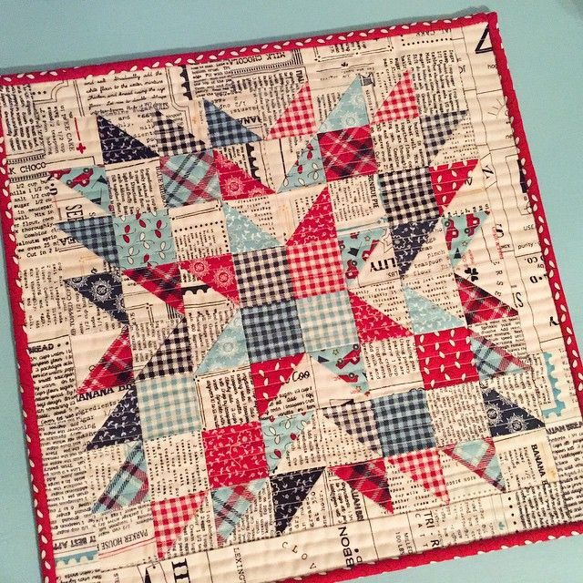 Just finished my Summer Star Mini with Feed Co fabrics. This cute little pattern is by Sherri of A Quilting Life. ❤️❤️❤️ Feed Co. #summerstarmini  #sweetwaterquilts